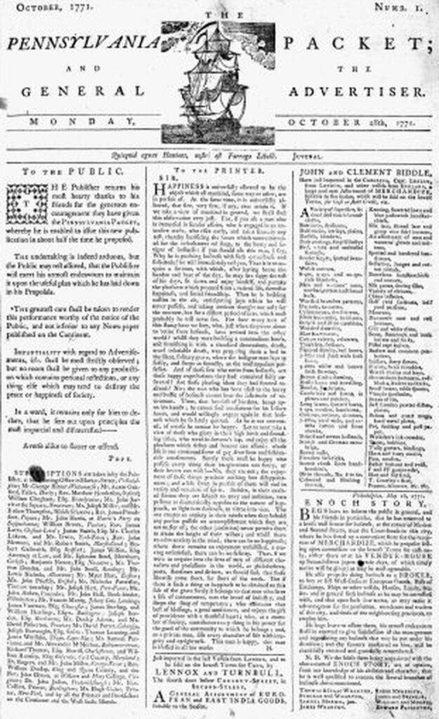 Pennysalvinia Packet- oldest newpaper advertisement