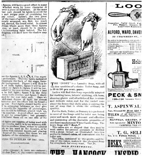 advertisement for Ivory soap by Protector and Gamble Co. during 1882